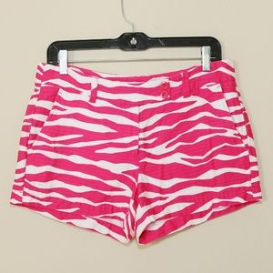 Vineyard Vines Pink White Shorts Animal Print SZ 6